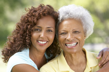 Older woman with female personal support worker