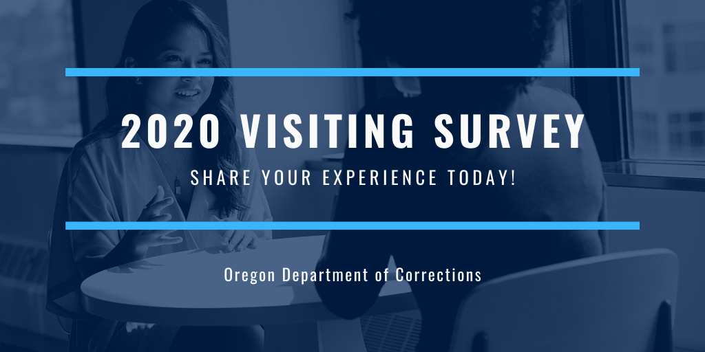 "Photo of two people talking across a table with text on top stating ""2020 visiting survey - share your experience today!"""