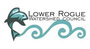 Logo for Lower Rogue Watershed Council. Large fish on lower left.