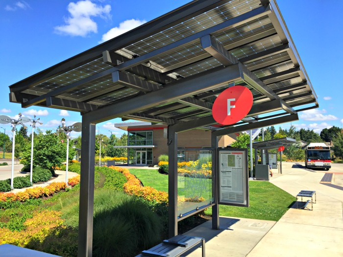 Solar canopy at transit station