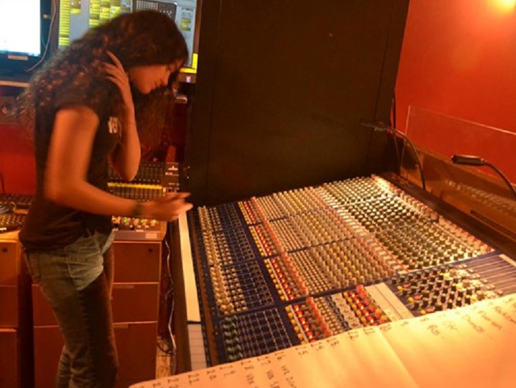 Sound engineer trainee at work