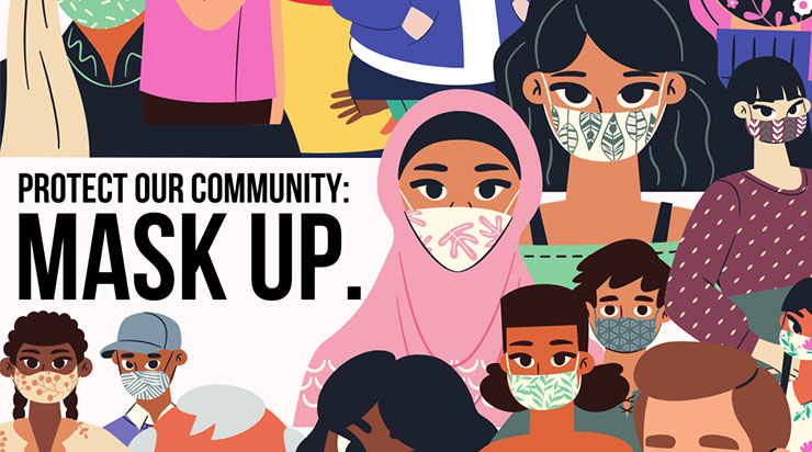 Public Engagement section, Ph, Illustration with message Mask Up