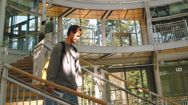 photo of student on staircase