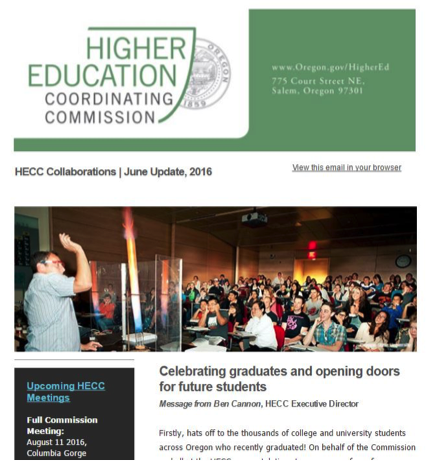 Image of HECC newsletter