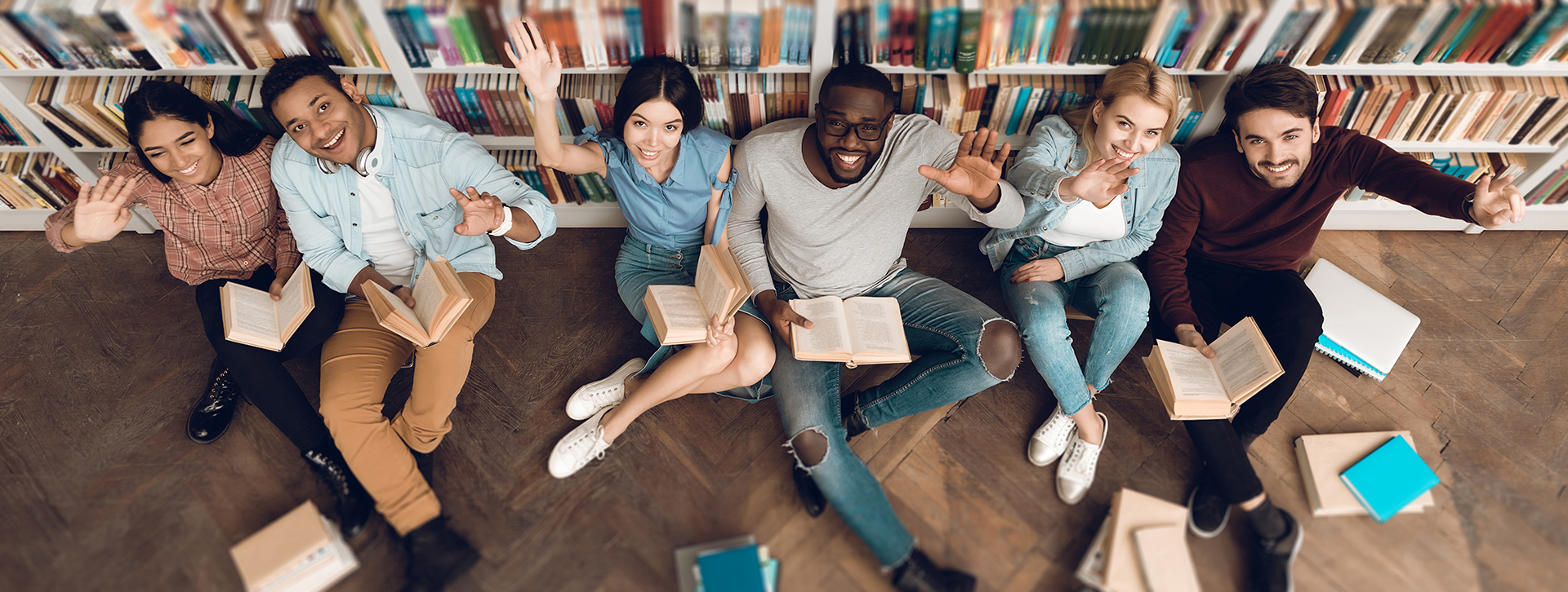 Stock photo of students in library