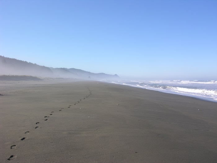 Footprints on the beach near Gold Beach