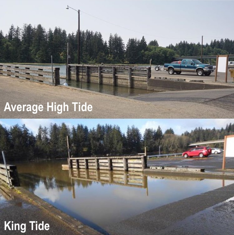 Nehalem Bay Boat Launch during an average high tide (above) and king high tide (below). Approximately 3-foot difference in tidal height.