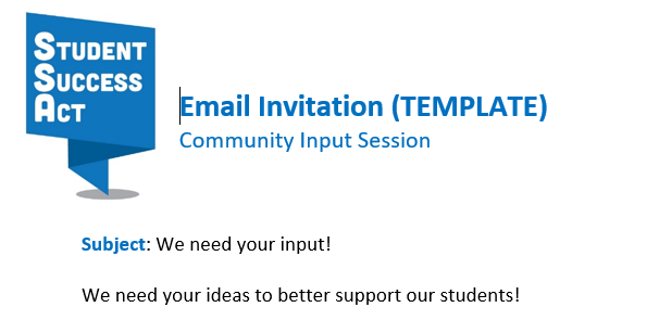 Community Input Session Email Message