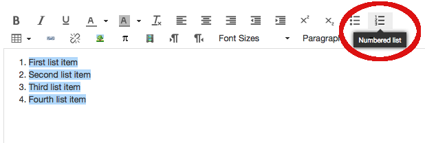 Screen shot of rich text editor in Canvas, with bulleted and numbered list buttons highlighted
