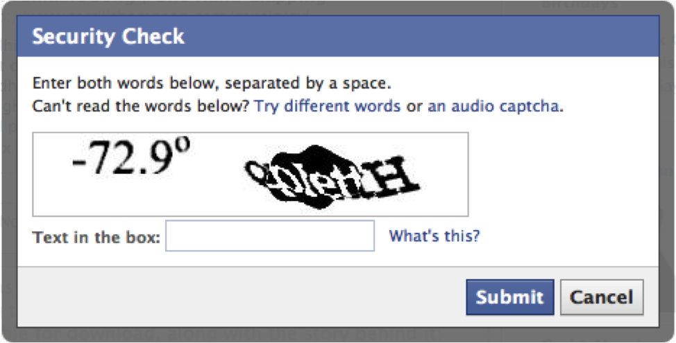 Example CAPTCHA featuring distorted characters and a line to an audio version