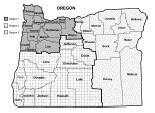 Oregon map with regions identified