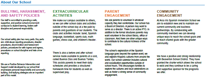About Our School section of the At-A-Glance report for elementary and middle schools
