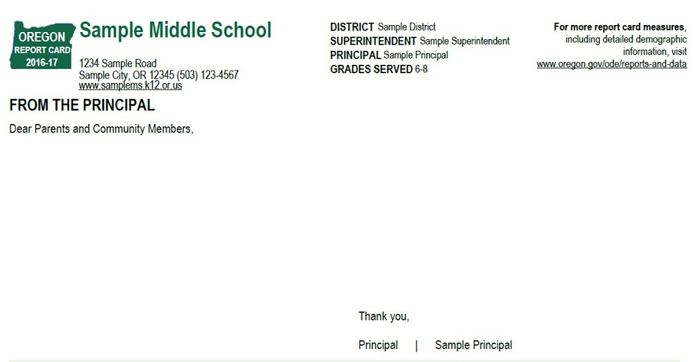sample school report card page 1 principal letter