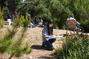 Students in an outside teaching environment