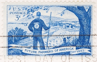 Image of a 1953 postage stamp commemorating the Future Farmers of America