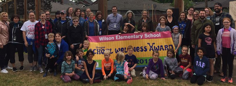 Wilson Elementary with School Wellness Award Banner