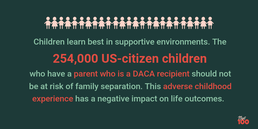 Dark green background. 25 light pink outlines of children of alternating genders holding hands as a border at the top. Light green text that reads 'Children learn best in supportive environments. The 254,000 US-citizen children who have a parent who is a DACA recipient should not be at risk of family separation. This adverse childhood experience has a negative impact on life outcomes.'