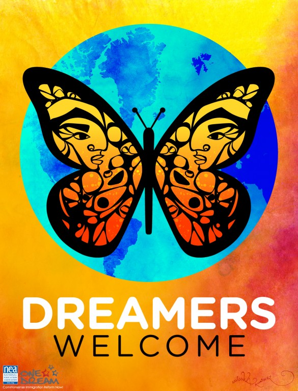 Orange background with earth in teal and dark blue ontop and a orange butterfly overlayed. text underneath rads DREAMERS in white and WELCOME in black text