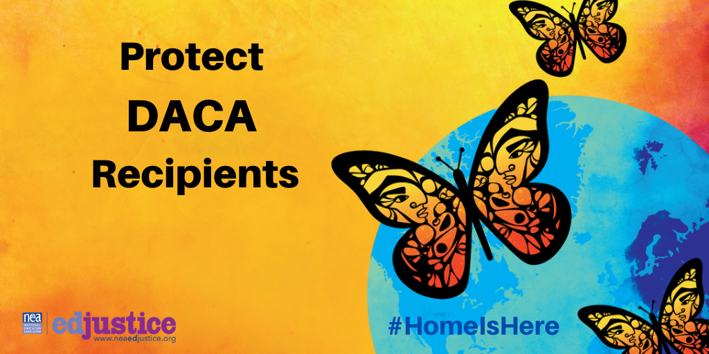 Orange background. Earth with purple indicating continents and blue indicating ocean. Three butterflied forming a triangle. Black text to the left that reads 'Protect DACA Recipients'with #homeishere and the edjustice logo at the bottom