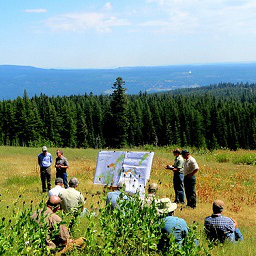 Photo of Board of Forestry presentation in the field