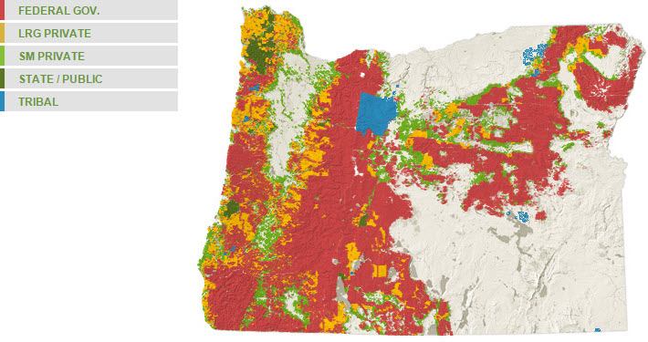 Oregon forest ownership map