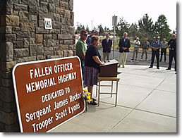 Dedication ceremony for fallen officers