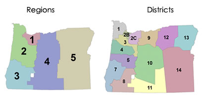 ODOT Districts and Regions