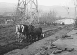 Using horses to grade a road in the early 1900s
