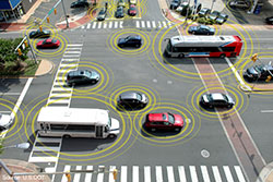 Connected vehicles in an intersection