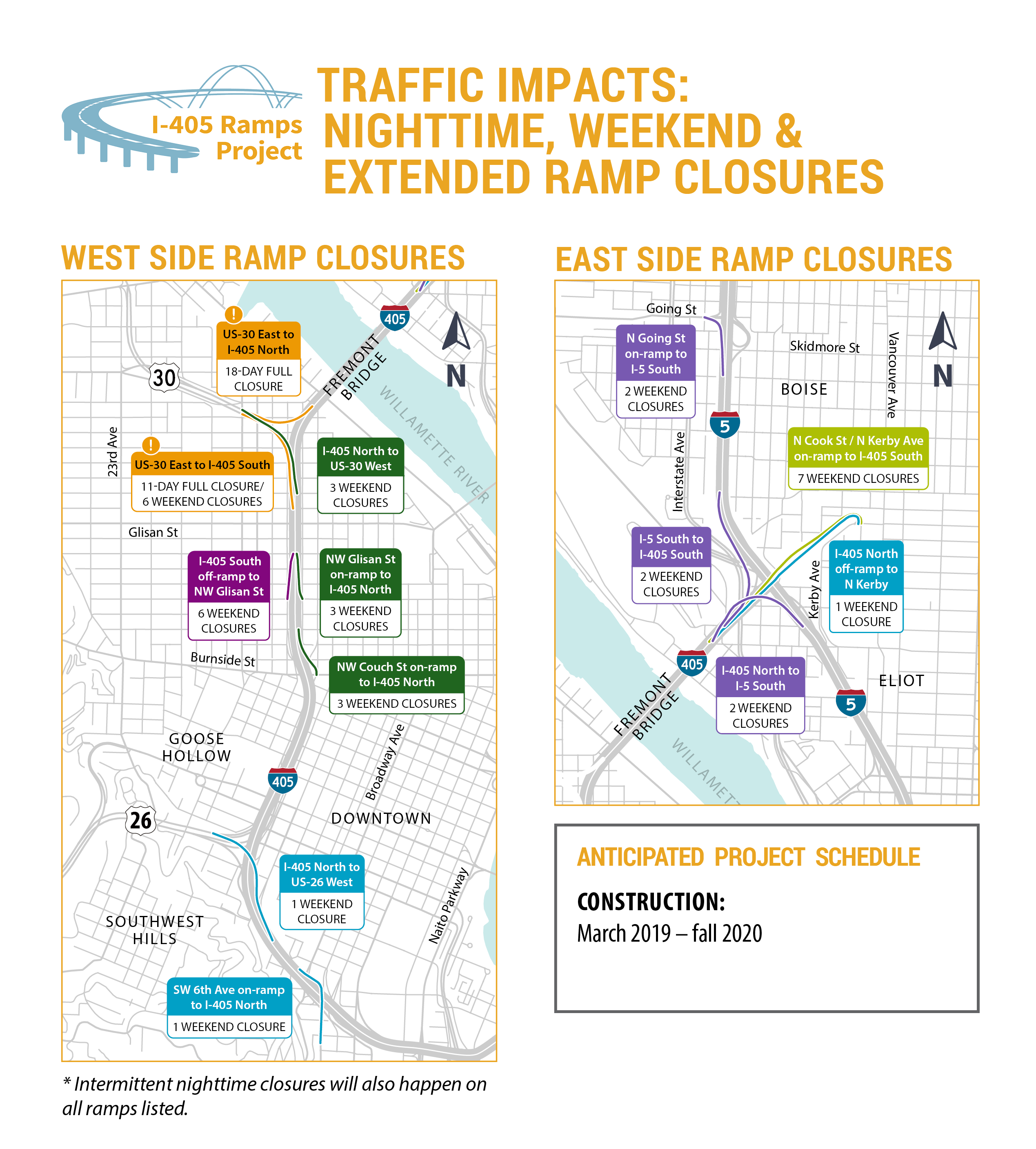 Ramps on the east and west ends of I-405 will have construction.