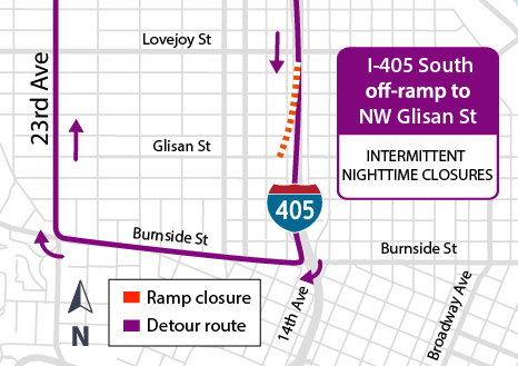 I-405 South off-ramp to Glisan Street Detour Map