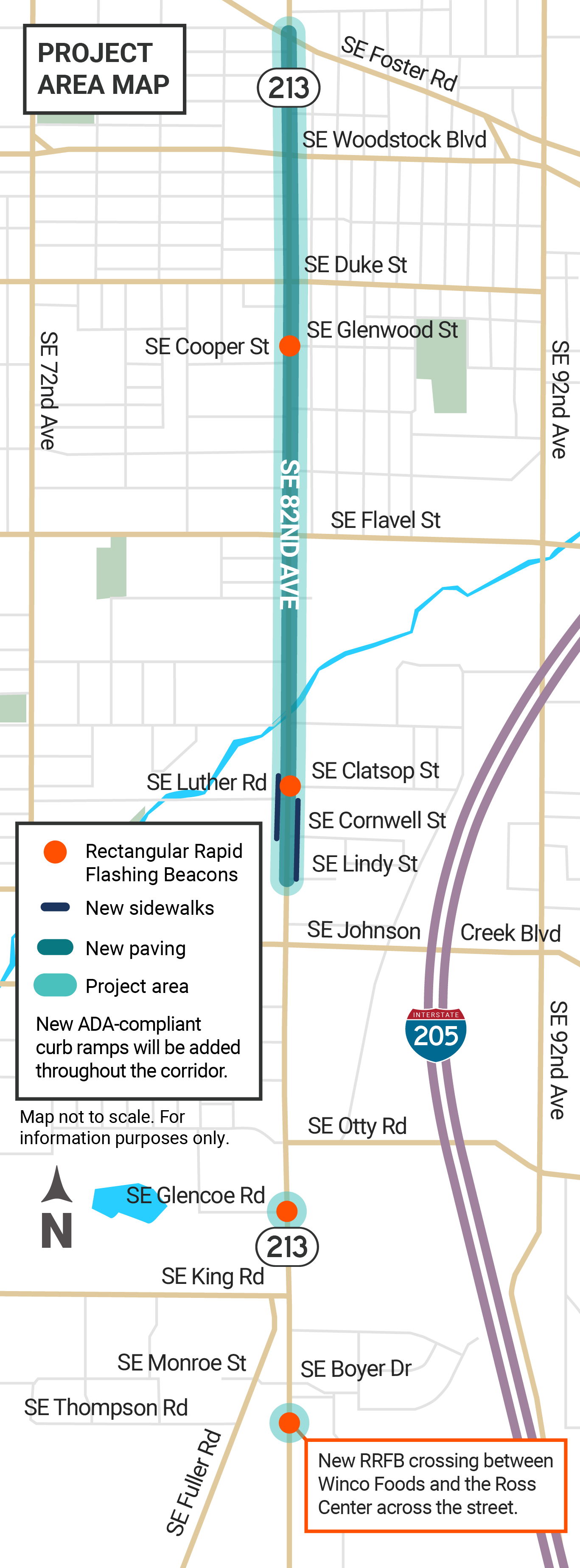 Map of the OR 213 project corridor