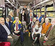 Public Transportation Advisory Committee Posing for a photo on a tram.