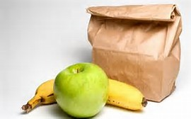 Brown bag with fruit