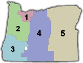 Map showing the five ODOT regions of Oregon