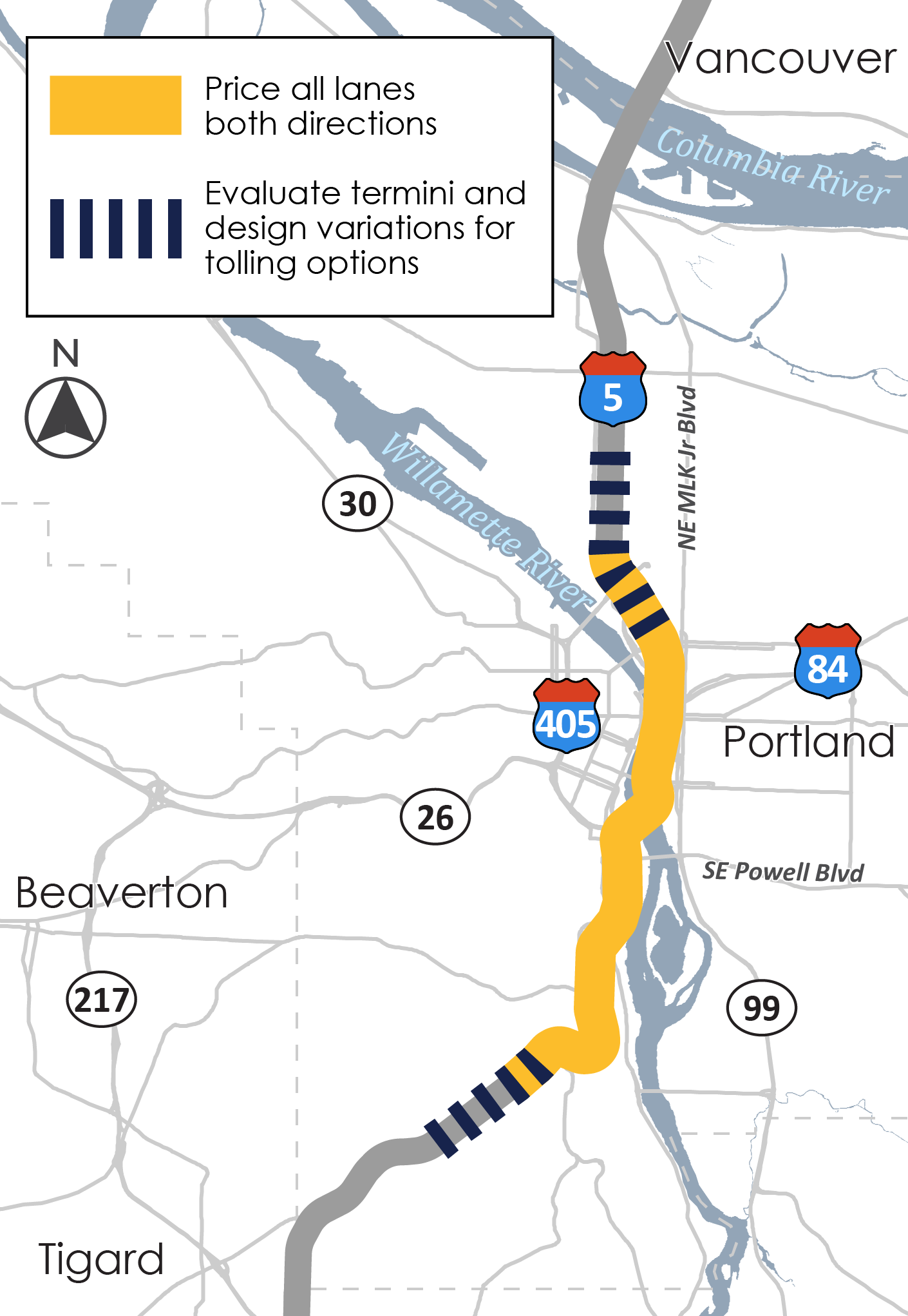 A map shows that all lanes on I-5 through central Portland would be priced and the endpoints of the toll will be evaluated.