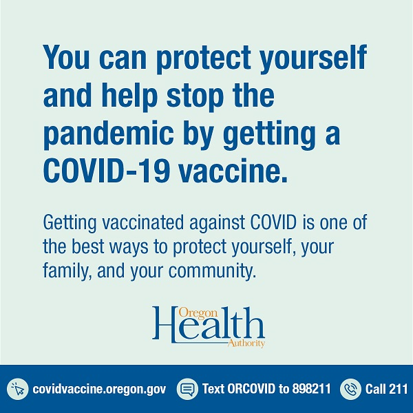 """Image with text """"you can protect yourself and help stop the pandemic by getting a COVID-19 vaccine."""""""