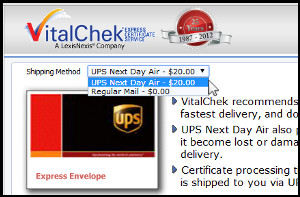 Screenshot of VitalChek shipping method options - UPS Next Day Air for $20 or Regular Mail for no added fee