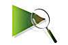 magnifying glass being used to examine a green triangle