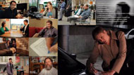 Mosaic of still photos from interviewing training video
