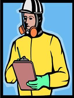 clipart image of man wearing yellow protective gear, hat and face mask while writing on a clipboard