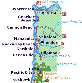 North Coast Oregon Beaches Map