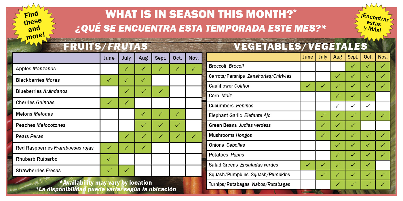 Chart showing what fruits and vegetables are in season each month (English and SpanisH)