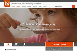 screenshot of welcome page to online childhood food insecurity course