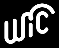 WIC logo white on black background