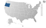 US map with Oregon highlighted in blue