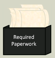 Image of papers in a box labeled Required Paperwork.