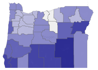 Map: County firearm deaths and rates per 100,000 population, all intents, 2013-2018. Low is white, high is dark blue.
