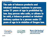 oregon health authority tobacco retail sales tobacco prevention