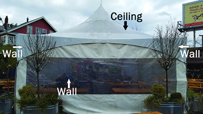 Structure that is enclosed. The area has three walls and a ceiling.